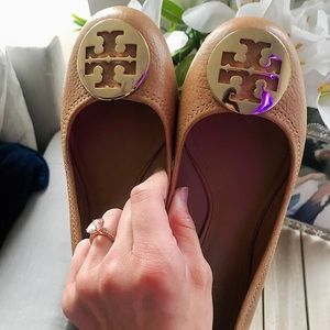 Tory Burch Royal Tan / Gold #253 Ballet Flat